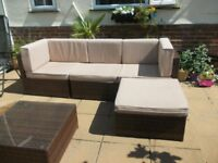 Rattan garden seating unit new last year