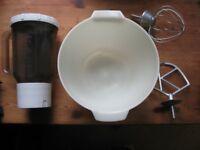 Kenwood mixing bowl , liquidizer, whisker and mixer.