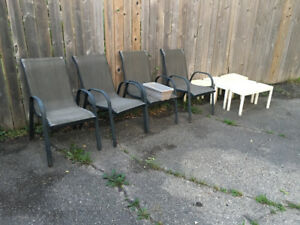 Outside Chairs, Plastic tables, Inside office Chair Free