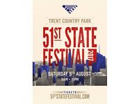 51st State Festival 2017 at Trent Country Park 4 Tickets for sale