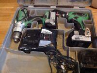 Hitachi 18v Impact Driver and 18v Hammer Drill plus 3 x 4.0ah Batteries