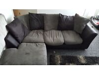 Black and Grey Corner Sofa (Left handed)