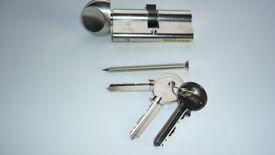 70mm Satin Nickel Plated Tigris Euro Cylinder & Thumb Turn Lock (6 pin)