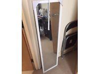 White frame long mirror