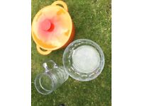 Casserole pot, trifle dish and large beer glass.