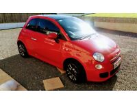 FIAT 500 1.2 S sport Rosso Red late 2014 with only 22000mls Panoramic roof. P.D.C.
