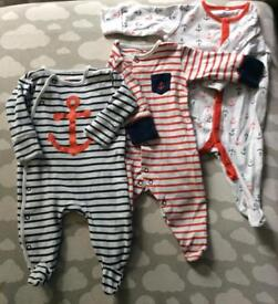 3 NEXT 0-3 months sleep suits with intergraded scratch mitts.