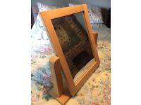 Wooden framed swing mirror
