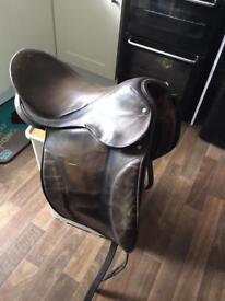 Brown English leather dressage Saddle
