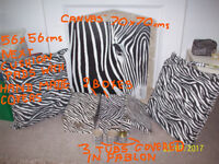 ZEBRA BUNDLE OF CANVAS,CUSHIONS,STORAGE BOXES,STICKY BACK PLASTIC,DECAL,MAKE UP BAG