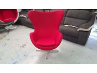 BRAND NEW ARNE JACOBSEN REPRODUCTION EGG CHAIR RED FABRIC **CAN DELIVER**