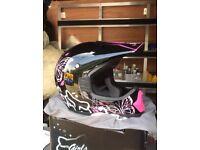 Fox Motocross Helmet Black & Pink Butterfly Size Medium 57-58cm