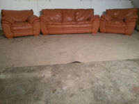 FREE 3 Seater & 2 Chairs Tan/Brown Leather Sofa Couch
