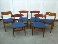 Retro 1960/70's dark wood & blue material dining chairs