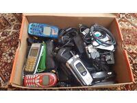 Box of Various Mobile Phones & Phone Accessories