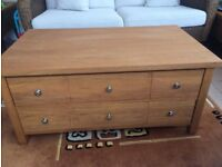 Next Hudson solid oak coffee table with drawers