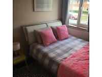 Chrome and white double bed and very good quality mattress excellent condition!