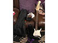 Full Size Black Acoustic Solutions Electric Guitar inc. mini amp, cable picks & guitar case