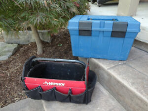 One Blue Plastic Tool Box with Tray $10