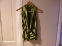 Women's lime green and brown striped top
