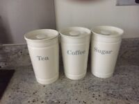 Kitchen storage jars. Cream colour from Marks and Spencer