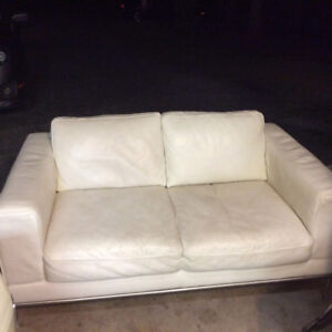White leather couch/love seat