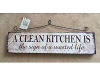 Brand New 'A clean kitchen is the sign of a wasted life' wooden sign/plaque