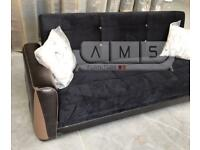 New Turkish 3 Seater Fabric Sofa Bed with Storage, Sofabed in black/brown