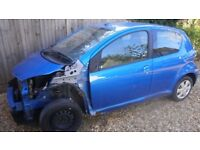 2010 Toyota AYGO Blue 5 Dr Hatchback 1.0 VVT-i (Cat D). Starts and drives.