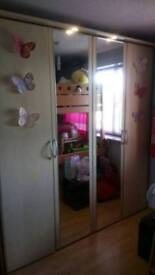 Large Double Wardrobe with Mirror & Lights