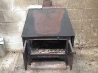 Wood burner Large Hunter wood burner with back boiler for 4 radiators