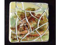 Vintage China Mosaic Coasters: Rustic Scenes