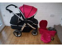 Pink Oyster Max 2 single / double pram - can post-