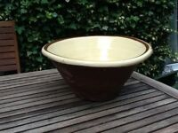 Large Pancheon Bowl - made of red clay with creamy coloured glaze on inside.