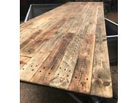 Reclaimed wood table tops.