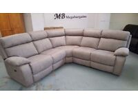 NEW Ex Furniture Village Corner Electric Recliner Bisque Fabric Sofa & USB, Can Deliver Kirkby NG177