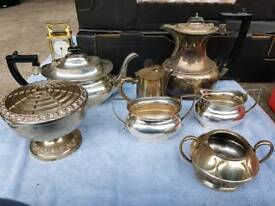 silver teapot x 2 sugar bowl milk jug bowl etc