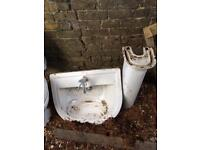 Sink, pedestal and toilet