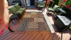 Grey Multi-Patterned Outdoor Rug: 8x10