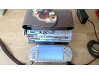 Sony PSP Silver with 5 Games