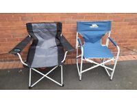 2 x folding camping chairs,trespass & hi gear