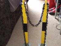 hinged padlock parking post with 3mt plastic chain
