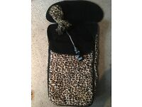 Limited edition leopard print Baby k footmuff and parasol