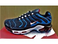 """Brand new in box NIKE AIR MAX PLUS Tn """"BLACK/BLUE/RED"""" Click for details"""