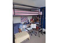 High Sleeper Bunk Bed and Desk, with foldout chair for extra bed