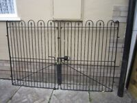 """Pair Black Steel Garden Gates, Each 36"""" wide/46""""high. with Steel Post/hinges/Latch.Good condition."""