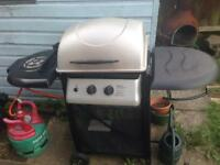 BBQ 2 burner with small patio gas canister (nearly empty) and cover