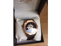 ROTARY MEN WATCH AUTOMATIC SKELETON DIAL ROSE GOLD STAINLESS STEEL ****LOOK****