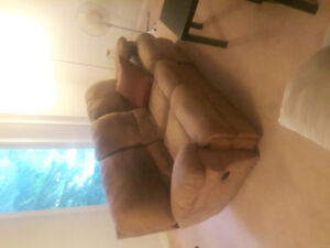 Double recliner suede sofa