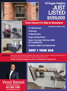 One Year Old Town House For Sale In Brampton - $599k